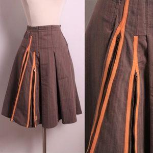 Skunkfunk Brown Pleated Skirt Zippers Boho L